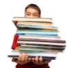 boy carrying stack of books